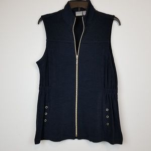 Chico's travelers navy blue zip up top size 1/M